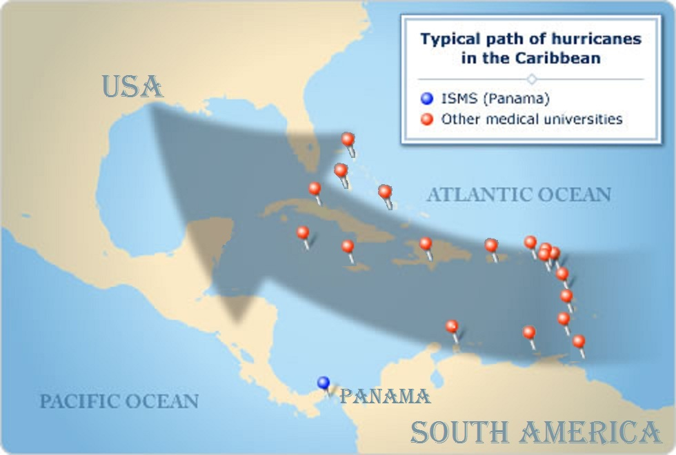 Typical path of hurricanes in the Caribbean